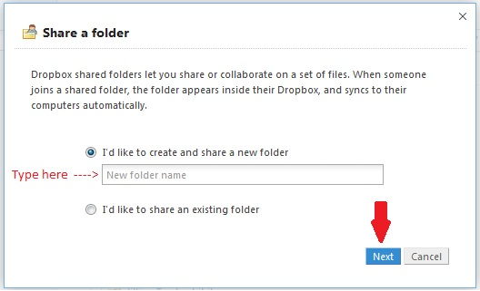 DropBox Share Folder Dialog Box