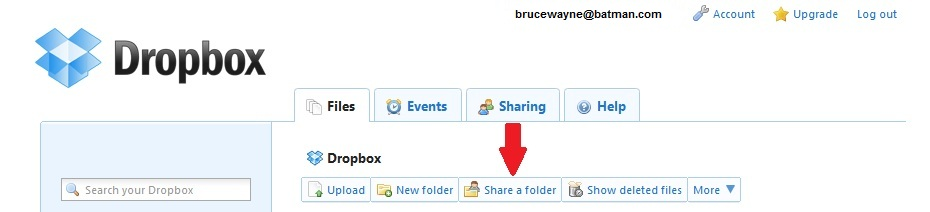 DropBox Share a Folder Tab