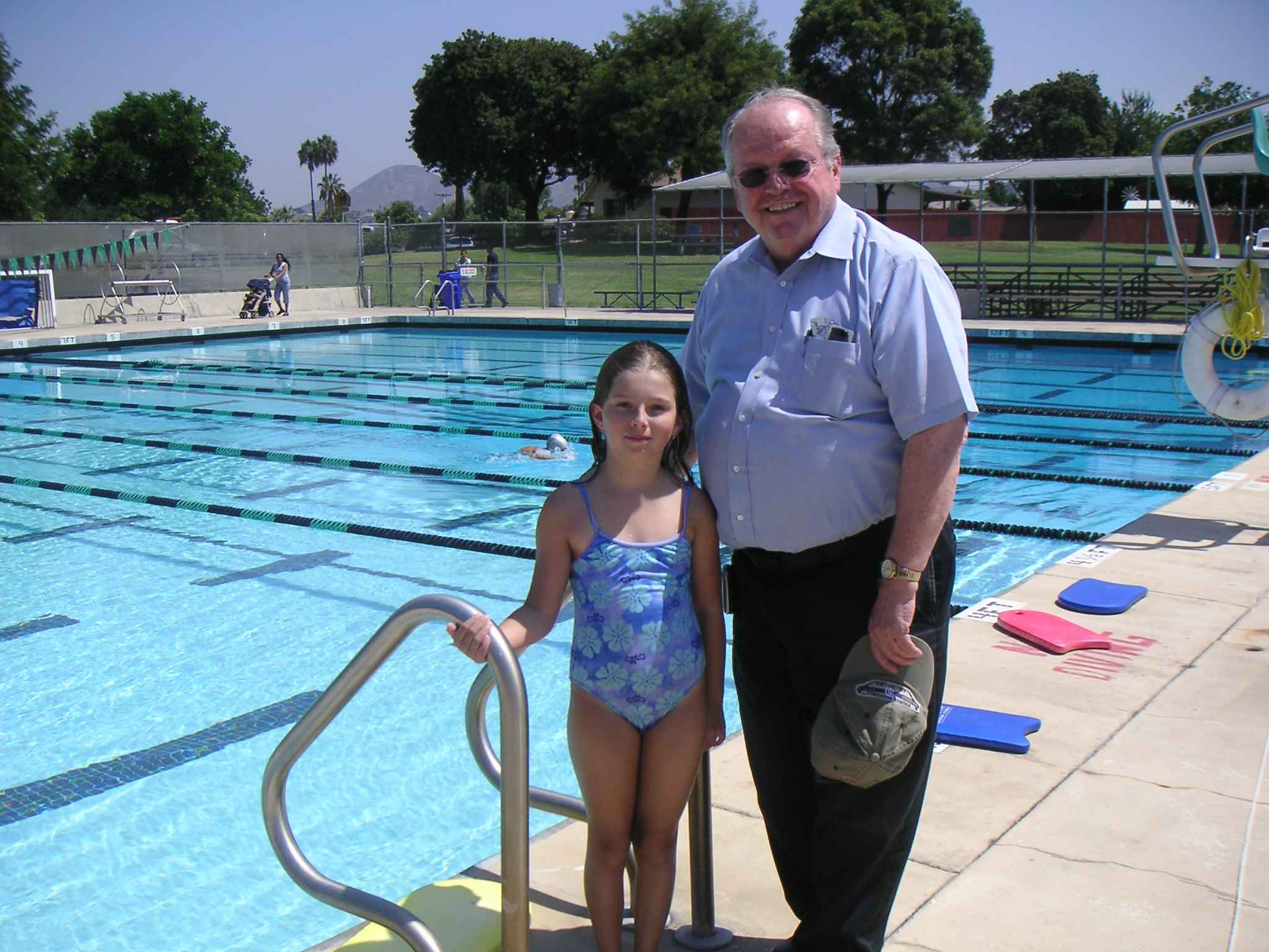 Grandpa and Elsa at the pool