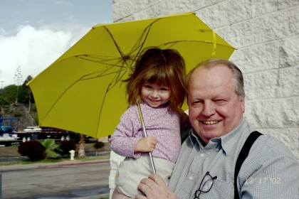 Grandpa Ward with Elsa and her new umbrella.